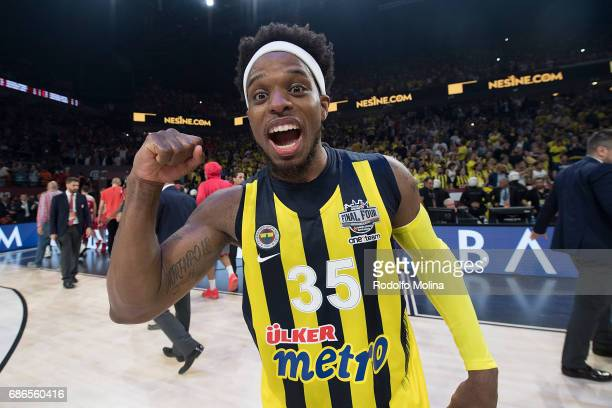 Bobby Dixon #35 of Fenerbahce Istanbul celebrates during the 2017 Final Four Istanbul Turkish Airlines EuroLeague Champion Trophy Ceremony at Sinan...