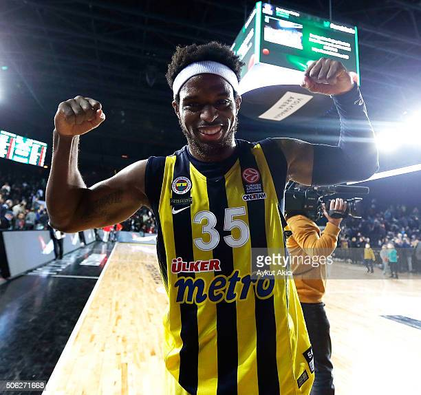 Bobby Dixon #35 of Fenerbahce Istanbul celebrates victory during the Turkish Airlines Euroleague Basketball Top 16 Round 4 game between Darussafaka...
