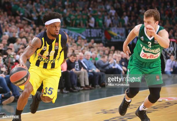 Bobby Dixon #35 of Fenerbahce Istanbul competes with Kevin Pangos #3 of Zalgiris Kaunas in action during the 2016/2017 Turkish Airlines EuroLeague...