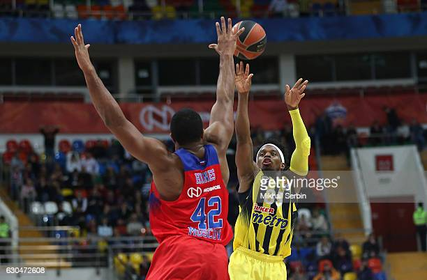 Bobby Dixon #35 of Fenerbahce Istanbul competes with Kyle Hines #42 of CSKA Moscow in action during the 2016/2017 Turkish Airlines EuroLeague Regular...