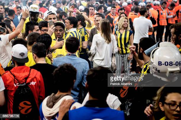 Bobby Dixon #35 of Fenerbahce Istanbul during the 2017 Final Four Istanbul Turkish Airlines EuroLeague Champion Trophy Ceremony at Sinan Erdem Dome...