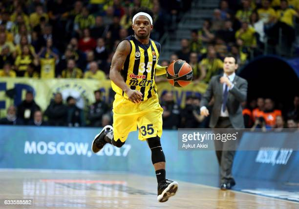 Bobby Dixon #35 of Fenerbahce Istanbul in action during the 2016/2017 Turkish Airlines EuroLeague Regular Season Round 21 game between Fenerbahce...