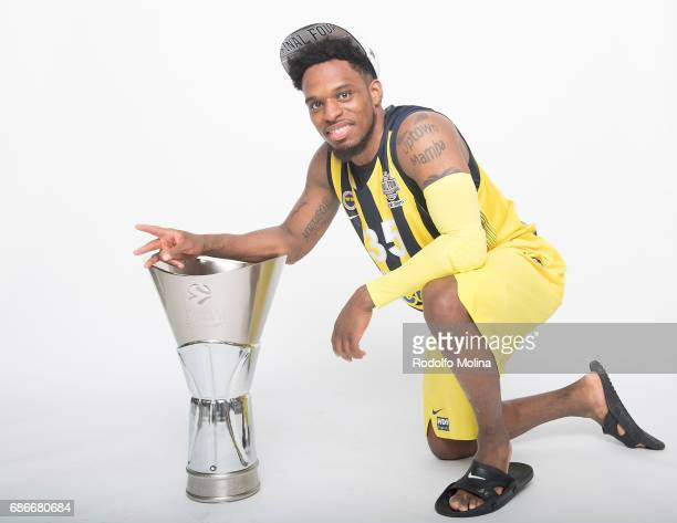 Bobby Dixon #35 of Fenerbahce Istanbul pose with Trophy duringTurkish Airlines EuroLeague Basketball Final Four istanbul 2017 Champion Photo Session...