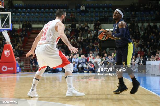 Bobby Dixon of Fenerbahce Dogus in action against Branko Lazic of Crvena Zvezda during the Turkish Airlines Euroleague week 28 basketball match...