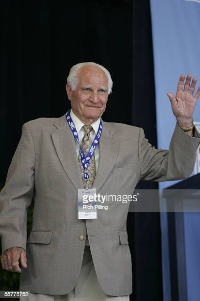 Bobby Doerr is announced during the 2005 National Baseball Hall of Fame Induction Ceremonies at the Clark Sports Center on July 31 2005 in...