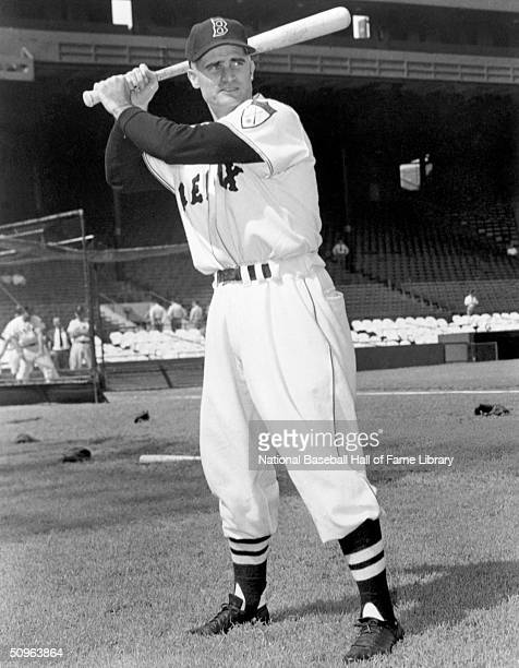 Bobby Doerr of the Boston Red Sox poses for an action portrait Doerr played for the Red Sox from 19371951