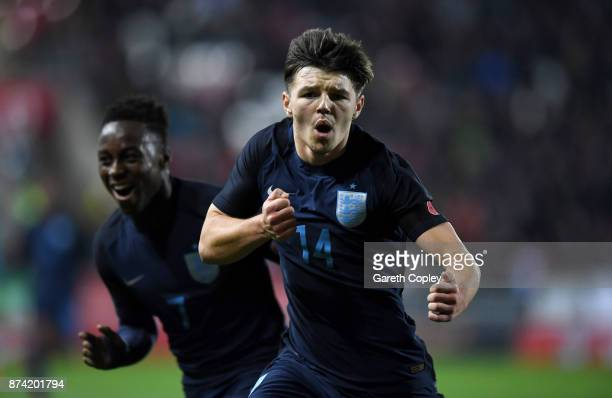 Bobby Duncan of England celebrates scoring the opening goal during the International Match between England U17 and Germany U17 at The New York...