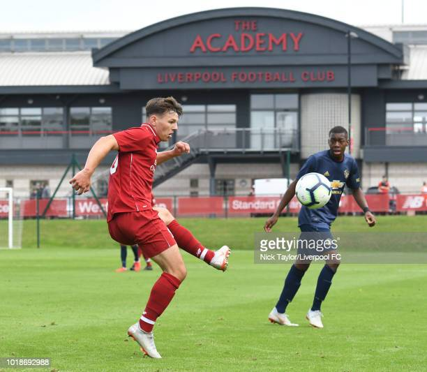 Bobby Duncan of Liverpool and Anthony Elanga of Manchester United in action during the Liverpool U18 v Manchester United U18 game at The Kirkby...