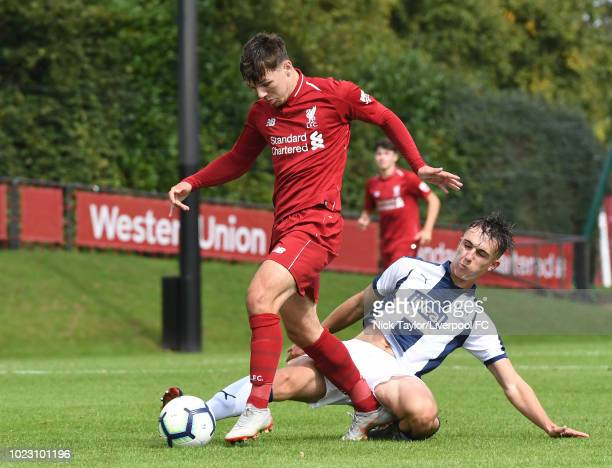 Bobby Duncan of Liverpool and Pablo Martinez of West Bromwich Albion in action during the Liverpool U18 v West Bromwich Albion U18 game at The Kirkby...