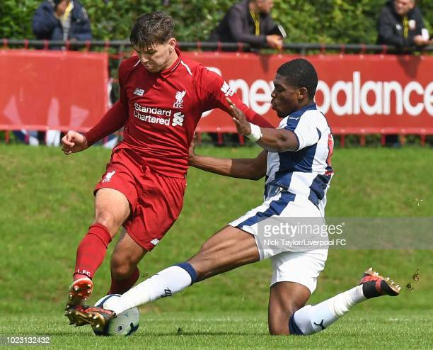 Bobby Duncan of Liverpool and Tyrese Dyce of West Bromwich Albion in action during the Liverpool U18 v West Bromwich Albion U18 game at The Kirkby...