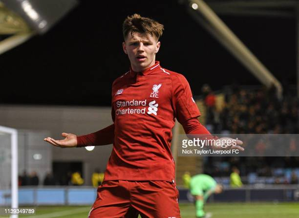 Bobby Duncan of Liverpool celebrates his goal during the FA Youth Cup Final at Manchester City Football Academy on April 25 2019 in Manchester England