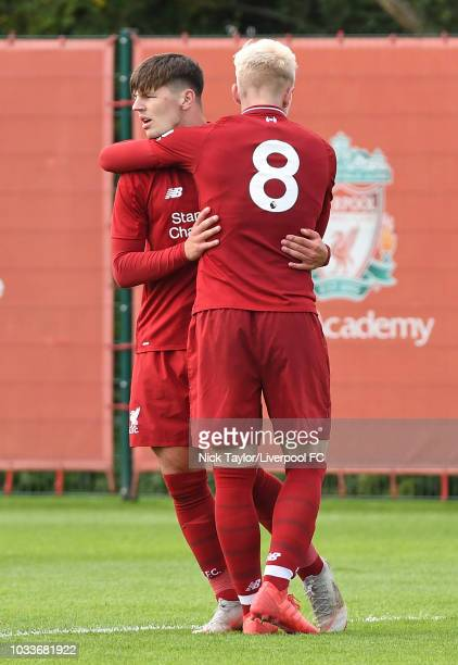Bobby Duncan of Liverpool celebrates his goal with Luis Longstaff during the Liverpool v Newcastle United U18 game at The Kirkby Academy on September...