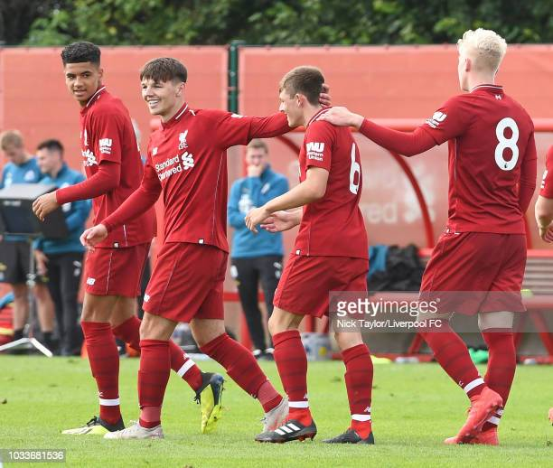Bobby Duncan of Liverpool celebrates his goal with team mates KiJana Hoever Leighton Clarkson and Luis Longstaff during the Liverpool v Newcastle...