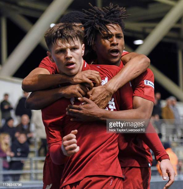 Bobby Duncan of Liverpool celebrates his goal with Yasser Larouci during the FA Youth Cup Final at Manchester City Football Academy on April 25, 2019...