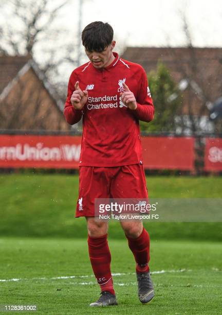 Bobby Duncan of Liverpool celebrates scoring his third and Liverpool's sixth goal during the U18 Premier League game at The Kirkby Academy on March 2...