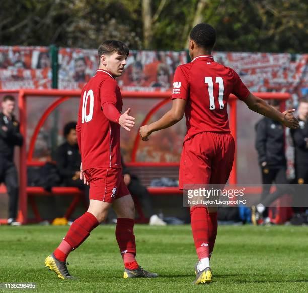 Bobby Duncan of Liverpool celebrates scoring Liverpool's second goal with Elijah DixonBonner in the Liverpool v Wolverhampton Wanderers U18 Premier...