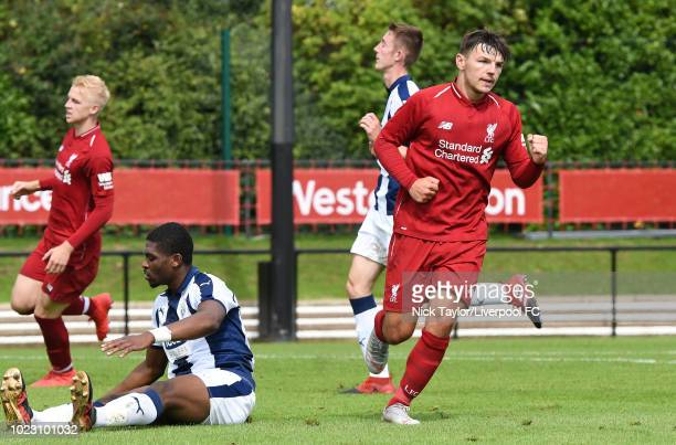 Bobby Duncan of Liverpool celebrates scoring Liverpool's third goal during the Liverpool U18 v West Bromwich Albion U18 game at The Kirkby Academy on...