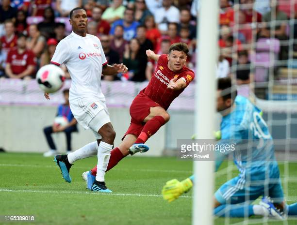 Bobby Duncan of Liverpool comes close during the PreSeason Friendly match between Liverpool and Olympique Lyonnais at Stade de Geneve on July 31 2019...