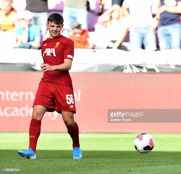 Bobby Duncan of Liverpool during the warm up before the PreSeason Friendly match between Liverpool and Olympique Lyonnais at Stade de Geneve on July...