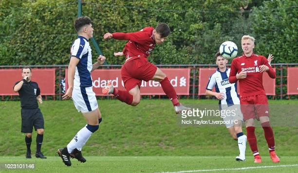 Bobby Duncan of Liverpool heads the ball into the back of the net only to be disallowed for offside during the Liverpool U18 v West Bromwich Albion...