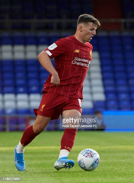 Bobby Duncan of Liverpool in action during the Checkatrade Trophy match at Boundary Park on August 7 2019 in Oldham England
