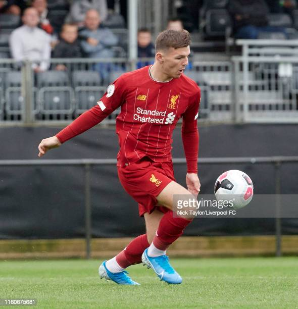 Bobby Duncan of Liverpool in action during the PL2 game at The Kirkby Academy on August 10 2019 in Kirkby England