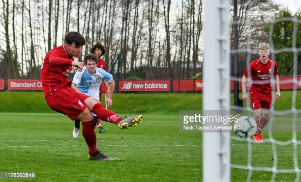 Bobby Duncan of Liverpool scores his second and Liverpool's third goal from the penalty spot during the U18 Premier League game at The Kirkby Academy...