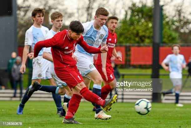 Bobby Duncan of Liverpool scores his third and Liverpool's sixth goal during the U18 Premier League game at The Kirkby Academy on March 2 2019 in...