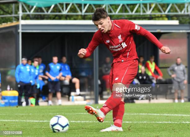 Bobby Duncan of Liverpool scores Liverpool's third goal during the Liverpool U18 v West Bromwich Albion U18 game at The Kirkby Academy on August 25...