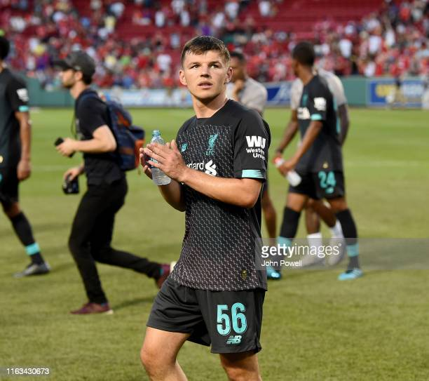 Bobby Duncan of Liverpool shows his appreciation to the fans at the end of a PreSeason Friendly match between Sevilla and Liverpool at Fenway Park on...
