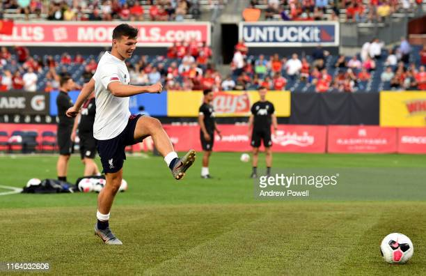 Bobby Duncan of Liverpool warming up before the PreSeason match between Sporting CP and Liverpool at Yankee Stadium on July 24 2019 in New York City