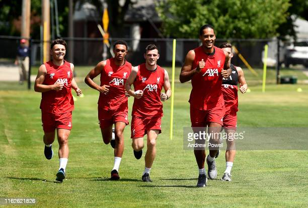 Bobby Duncan Trent AlexanderArnold Andy Robertson Virgil van Dijk and Harry Wilson of Liverpool during a training session on July 17 2019 in South...