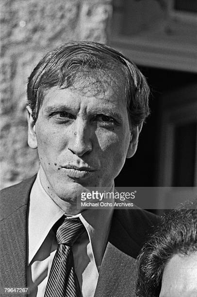 Bobby Fischer meets the press at an exhibition match on December 5 1972 in Los Angeles California