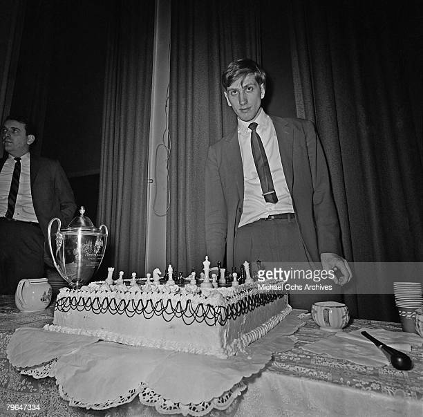 Bobby Fischer wins the Frank Marshall Tropy at the Marshall Chess Club on January 22 1964 in New York City New York