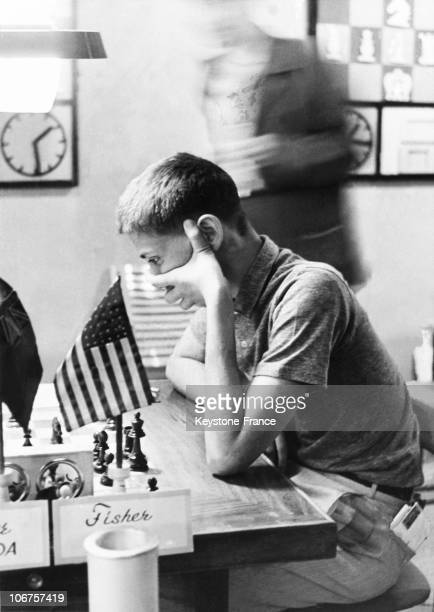 Bobby Fisher Playing A Game Of Chess USA 1950