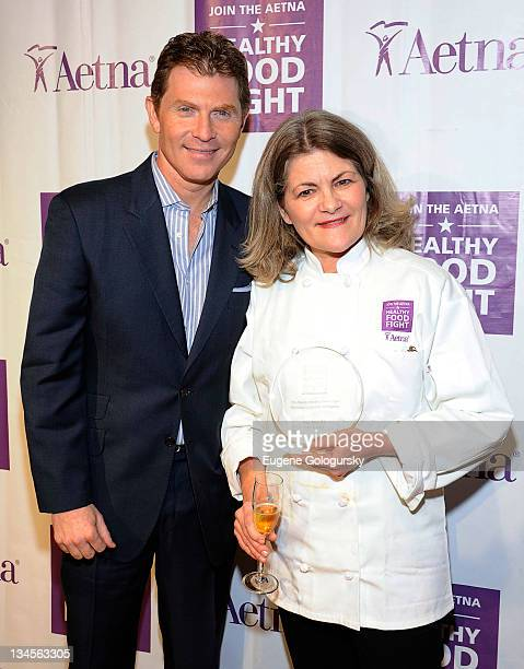 Bobby Flay and Mary Edwards attend the Aetna Healthy Food Fight regional semifinal cookoff at ABC Studios on December 2 2011 in New York City