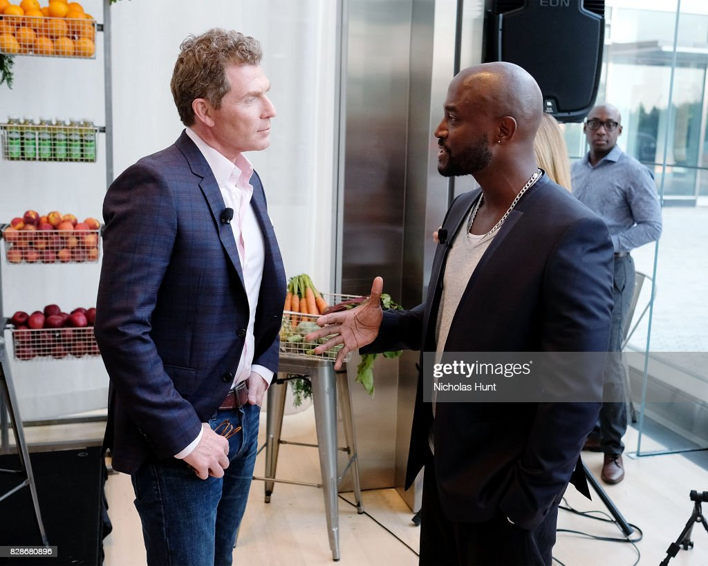 Bobby Flay and Taye Diggs attends the 2017 #DrinkGoodDoGood Campaign Launch at Little River on August 9, 2017 in New York City.