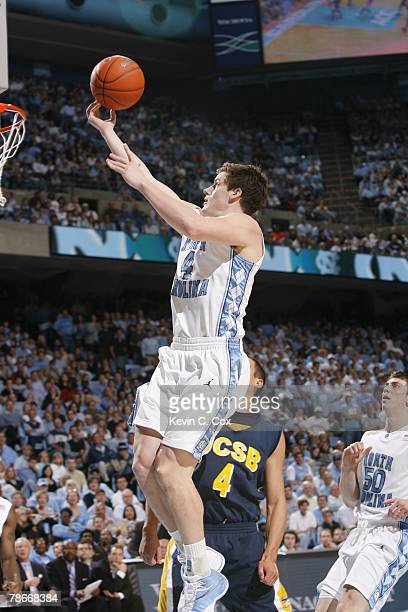 Bobby Frasor of the North Carolina Tar Heels goes up for a shot against the UC Santa Barbara Gauchos during the game at the Dean E Smith Center on...