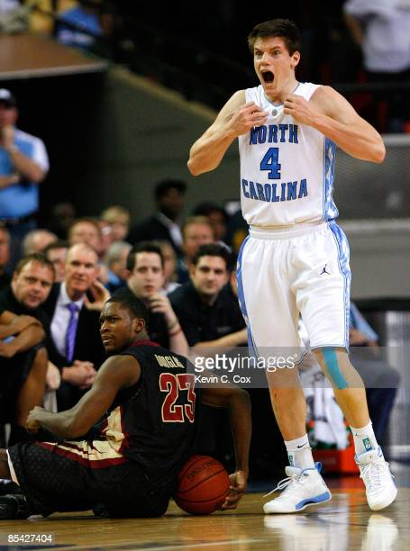 Bobby Frasor of the North Carolina Tar Heels reacts after getting called for a foul against Toney Douglas of the Florida State Seminoles in the final...