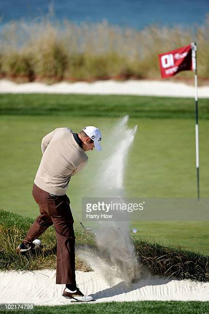 Bobby Gates leaves the ball in the bunker on the tenth hole during the first round of the 110th U.S. Open at Pebble Beach Golf Links on June 17, 2010...
