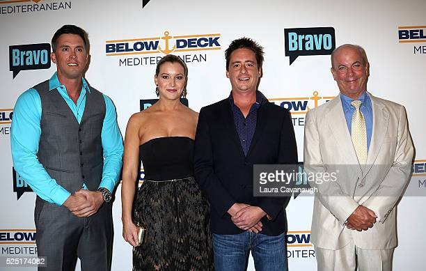 Bobby Giancola Hannah Ferrier Ben Robinson and Captain Mark Howard attend Bravo's Below Deck Premiere at The IAC Building on April 27 2016 in New...