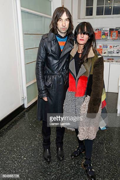 Bobby Gillespie and Juliette Larthe attend a Willy Vanderperre screening and QA during The London Collections Men AW16 at ICA on January 11 2016 in...