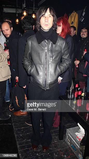 Bobby Gillespie attends Stutterheim Raincoats PopUp Shop launch party at 30a Redchurch Street on November 22 2012 in London England