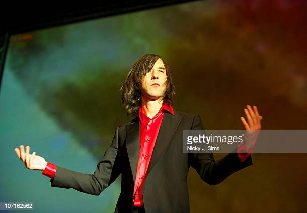 Bobby Gillespie of Primal Scream performs on stage during the opening night of their anniversary performances of their seminal 1991 album...