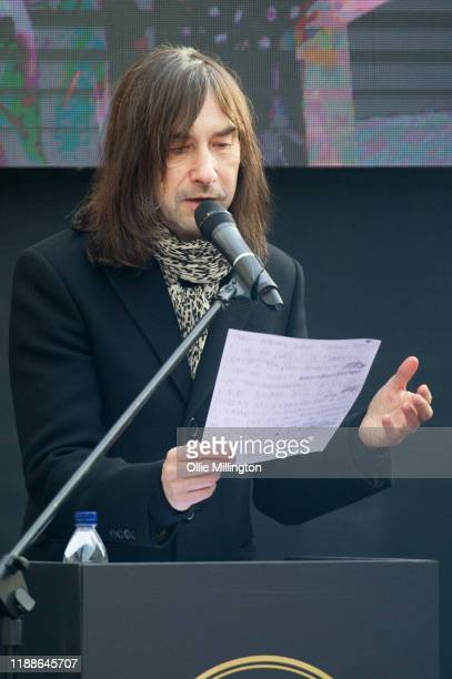Bobby Gillespie of Primal Scream speaks at the Music Walk Of Fame for The Who's Founding Stone Unveiling on Camden High Street on November 19 2019 in...