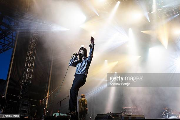 Bobby Gillespie Primal Scream performs on stage on Day 2 of Bingley Music Live 2013 at Myrtle Park on August 31 2013 in Bingley England