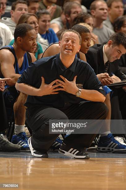 Bobby Gonzalez head coach of the Seton Hall Pirates during a basketball game against the Georgetown Hoyas at Verizon Center on February 2 2008 in...