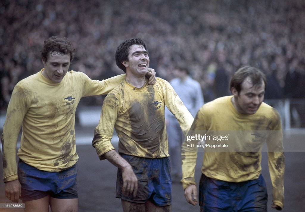 Bobby Gould (centre) with Arsenal teammates, John Radford (left) and David Court, after scoring against Swindon Town during the Football League Cup Final match at Wembley Stadium in London on 15th March 1969. Swindon Town won 3-1 after extra time.