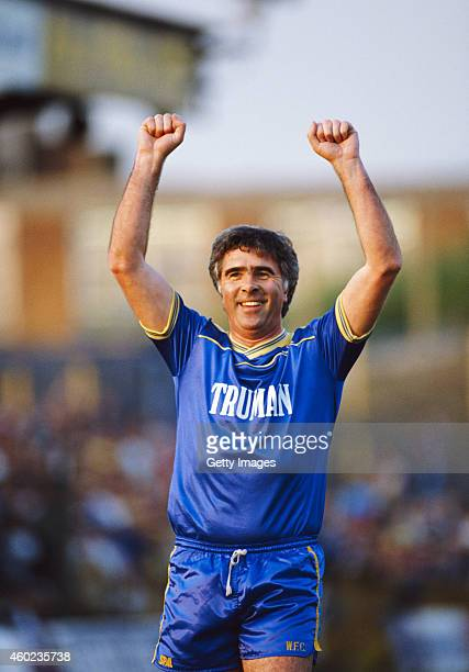 Bobby Gould Wwimbledon FC manager when Wimbledon won the FA Cup in 1988 celebrates during the Alan Cork testimonial at Plough Lane on May 18 1988 in...