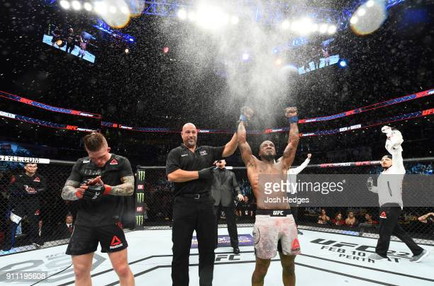 Bobby Green celebrates his victory over Erik Koch in their lightweight bout during a UFC Fight Night event at Spectrum Center on January 27 2018 in...